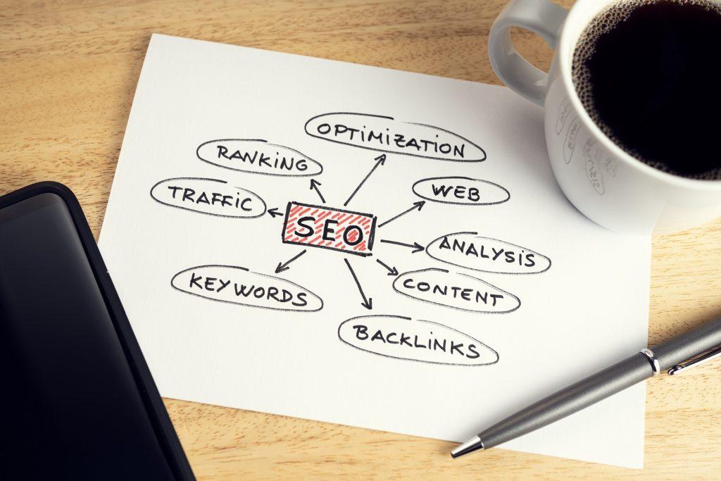 Concept d'optimisation SEO ou moteur de recherche